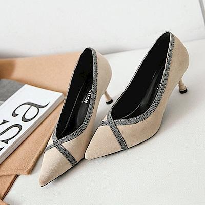 KEITH-WILL時尚鞋館 年度精選拼接時尚高跟鞋-杏色