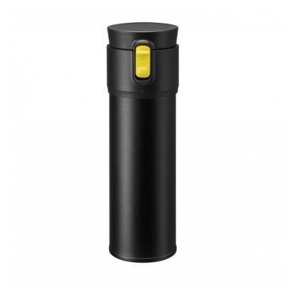 【PO:Selected】丹麥保溫泡茶杯470ml (內建瓶蓋過濾茶葉裝置) (黑+黃)