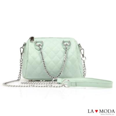 La Moda 約會不敗穿搭小香風菱格紋大容量肩背斜背鍊帶波士頓包(綠)