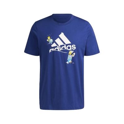 adidas T恤 Graphic Tee 辛普森家庭 男款 愛迪達 The Simpsons 打雪仗 藍 白 HA7704