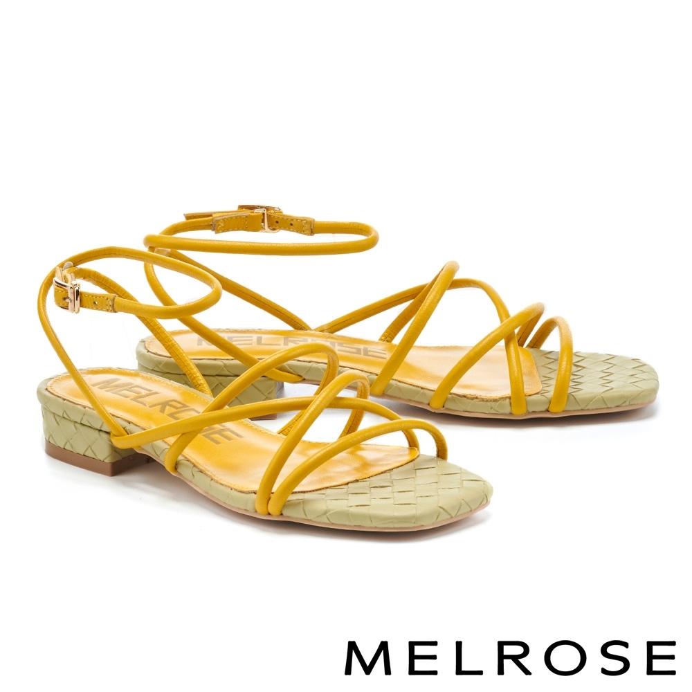 涼鞋 MELROSE 清新恬靜交叉細帶真皮方頭低跟涼鞋-黃