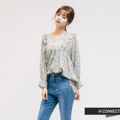 H:CONNECT 韓國品牌 女裝 - 浪漫印花雪紡上衣-綠