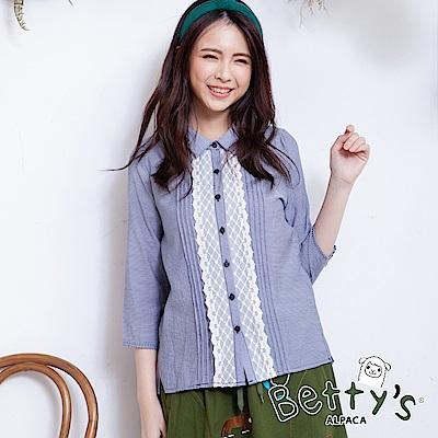 betty's貝蒂思 日系蕾絲排釦條紋襯衫(深藍)