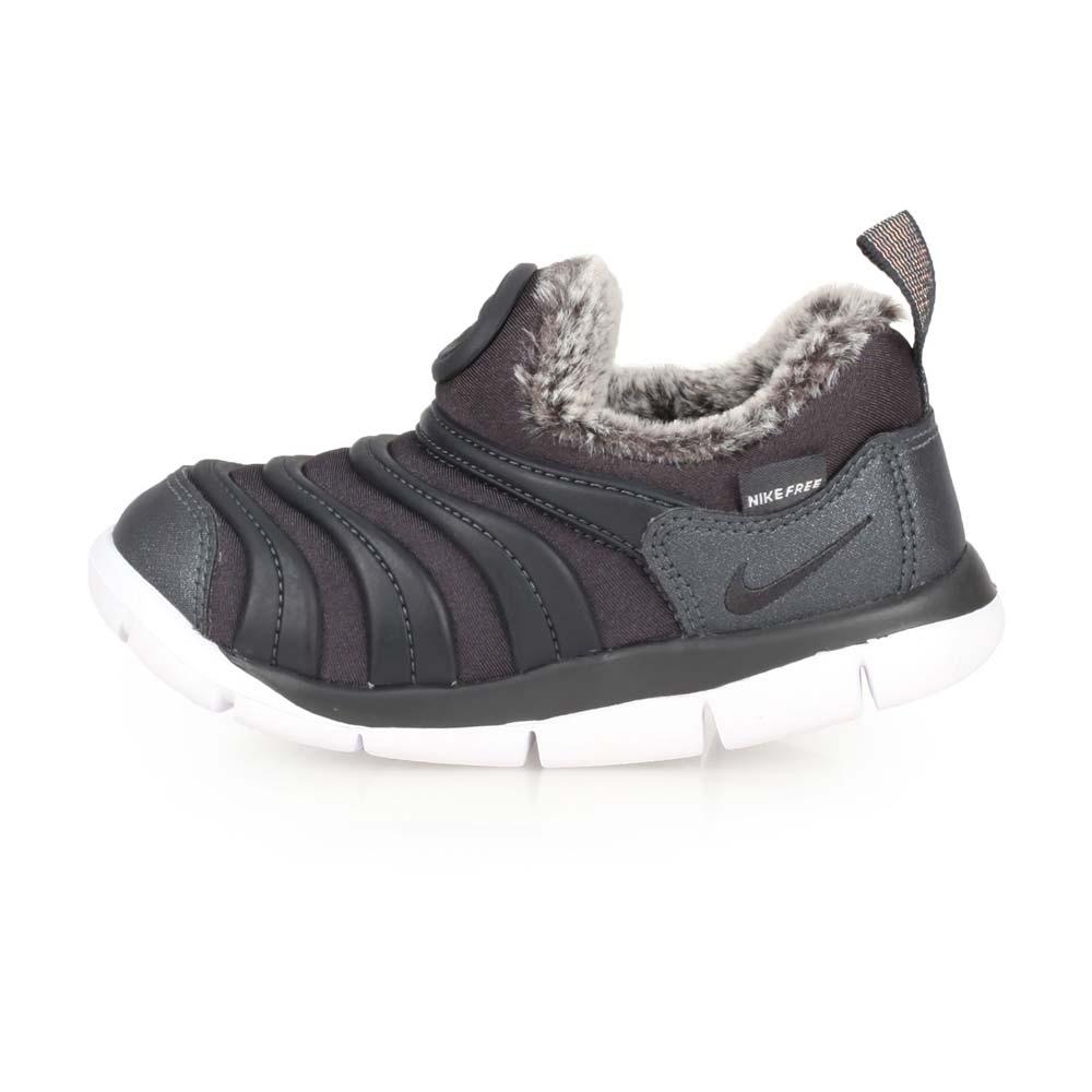 NIKE DYNAMO FREE 女童毛毛蟲保暖運動鞋-刷毛 黑灰白