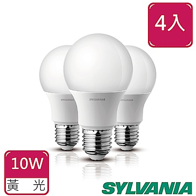SYLVANIA喜萬年10W LED超亮廣角燈泡3000K全電壓4入-黃光