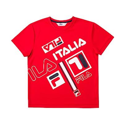 FILA KIDS 童吸濕排汗針織上衣-紅色 1TET-4431-RD