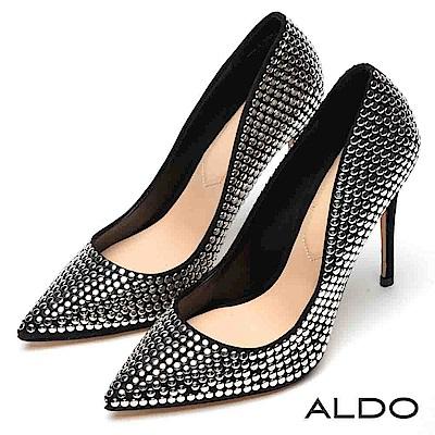 ALDO 原色摩登黑佐滿版金屬鉚釘釦尖頭細高跟鞋~尊爵黑色