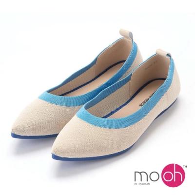 mo.oh-針織舒適柔軟平底尖頭娃娃鞋-藍白色