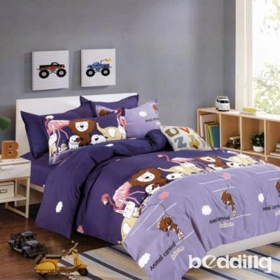 BEDDING-活性印染5尺雙人薄床包涼被組-動物世界