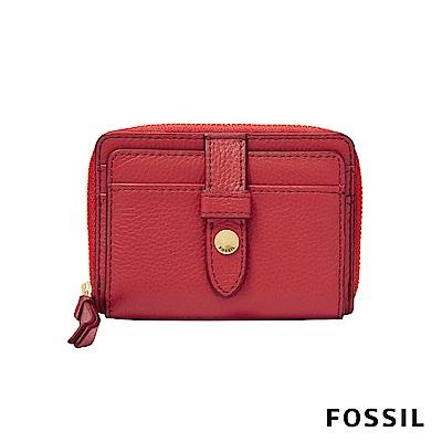 FOSSIL FIONA 真皮系列拉鍊零錢短夾-蜜桃紅