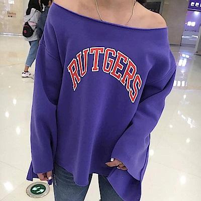 La Belleza一字領可拉肩英文字下擺袖子不對稱不收邊內裡刷毛大T @ Y!購物
