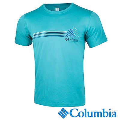Columbia哥倫比亞 男-防曬30涼感快排短袖上衣湖水藍-UAE64630AQ