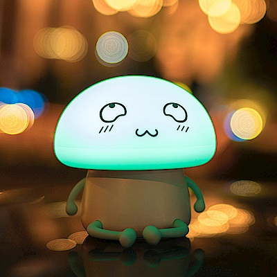 半島良品 多功能矯情Q仔蘑菇舒壓療癒小夜燈- 賤小寶(清新藍)