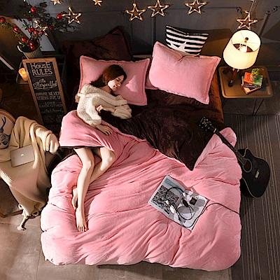 原創本色 草莓布丁 頂級雙色加厚法蘭絨雙人被套床包四件組