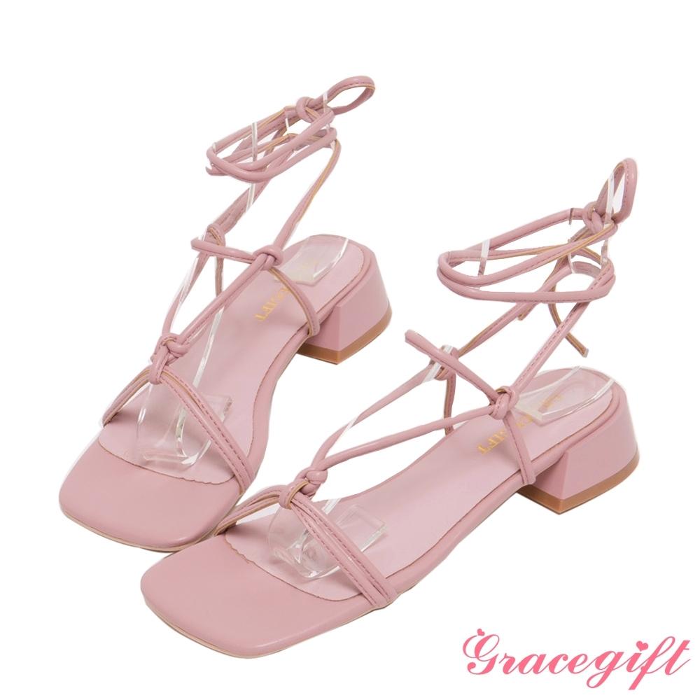 Grace gift-層次綁帶羅馬低跟涼鞋 粉
