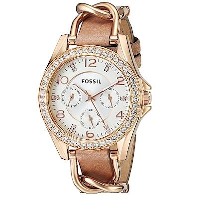 FOSSIL 萊麗滿鑽鍊條設計三眼腕錶(ES 3466 )-白x玫瑰金/ 38 mm