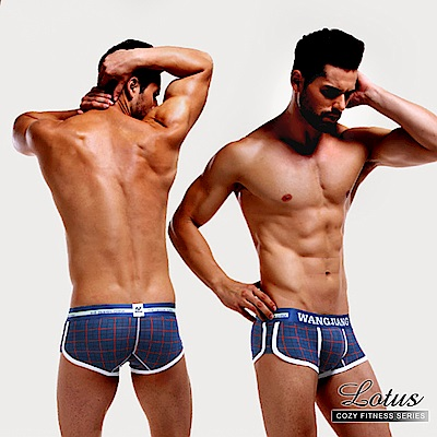 男內褲 深藍幻想曲低腰凸囊袋印花平口男內褲-深藍格子 LOTUS