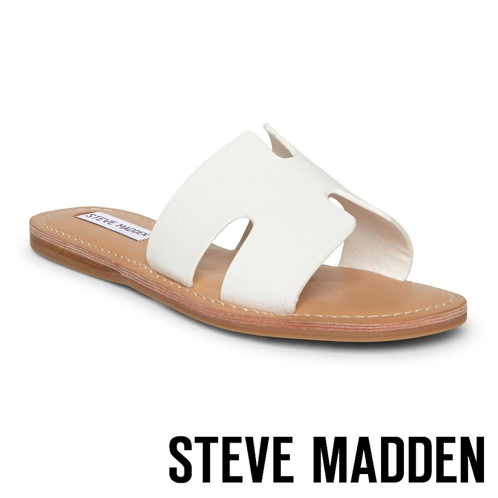 STEVE MADDEN-HARLOW 簡約H型一字拖鞋-白色
