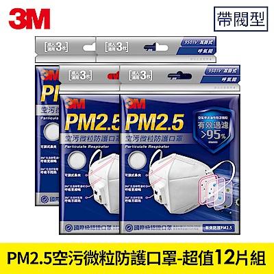 3M PM2.5空污微粒防護口罩帶閥型 - 超值12片  9501V