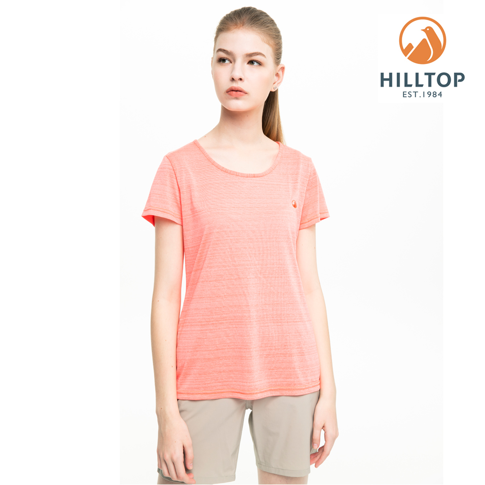【hilltop山頂鳥】女款吸濕快乾抗菌T恤S04FI4麻花橘
