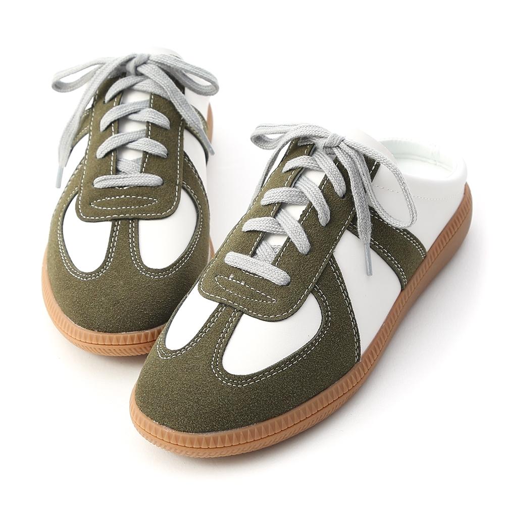 D+AF 活力宣言.麂皮拼接保齡球穆勒鞋*綠