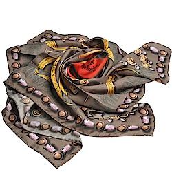 MOSCHINO 設計服裝元素圖騰大絲巾(茶褐色系)