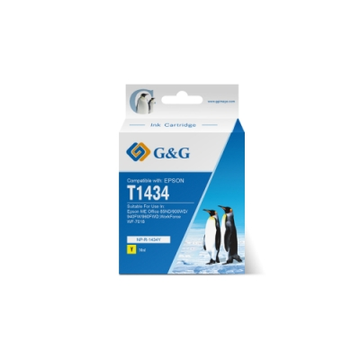 【G&G】 for Epson 黃色 T1434/T143450 (NO.143) 高容量相容墨水匣 /適用:ME Office 82WD / 900WD / 940FW / 960FWD