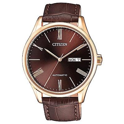 CITIZEN  尊爵不凡自動上鍊機械腕錶(NH8363-14X)- 棕/41mm