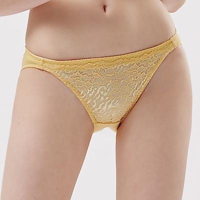 思薇爾 晶漾戀曲系列M-XL蕾絲低腰三角內褲(霧金色)