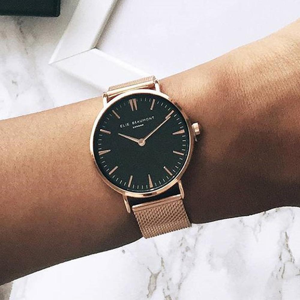 Elie Beaumont 英國時尚手錶 牛津米蘭錶帶系列 黑錶盤x玫瑰金錶帶錶框38mm
