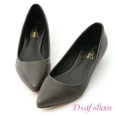 D+AF 俐落優雅.簡約素面尖頭低跟鞋*灰