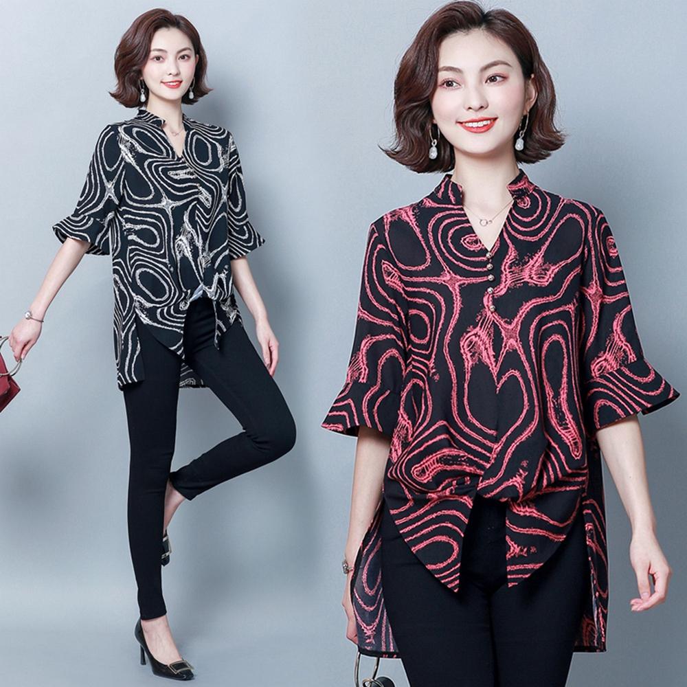垂墜感特色衣擺設計款印花上衣XL-5XL(共兩色)KVOLL @ Y!購物
