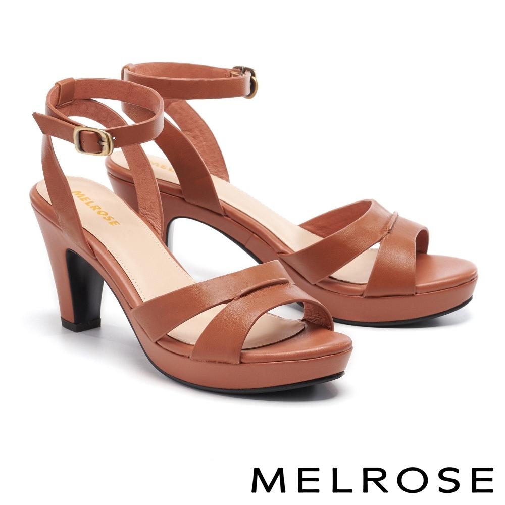 涼鞋 MELROSE 簡約時尚純色真皮美型高跟涼鞋-棕