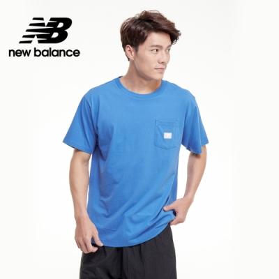 【New Balance】基本款左胸口袋短袖Tee_男性_天空藍_AMT01567FCB