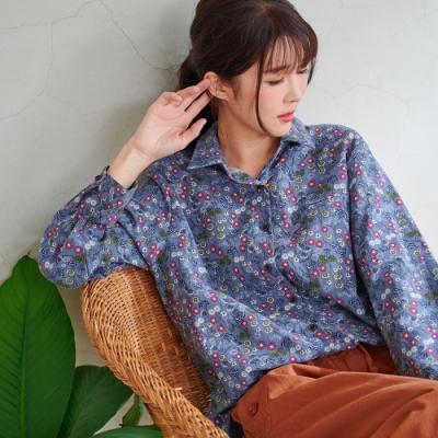 慢 生活 文藝碎花木質釦棉質襯衫- 紅/藍