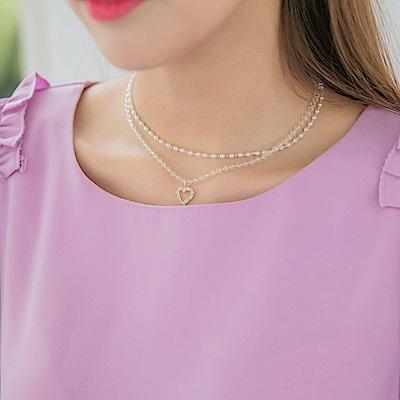 心型綴飾小珍珠雙層項鏈-OB大尺碼
