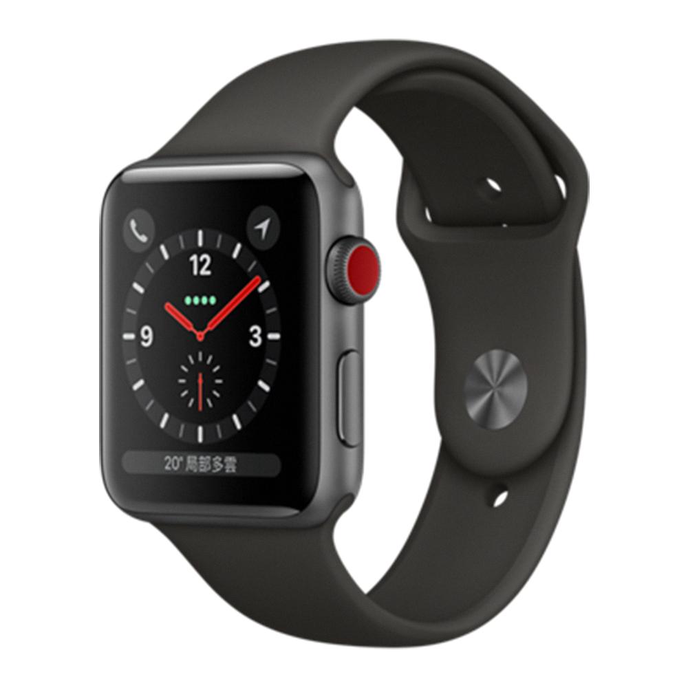 Apple Watch S3 LTE 42mm太空灰鋁金屬殼+黑色錶帶-MQKN2TA/A