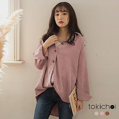 東京著衣 時尚歐膩後繡字燈芯絨多色襯衫式外套上衣(共三色)