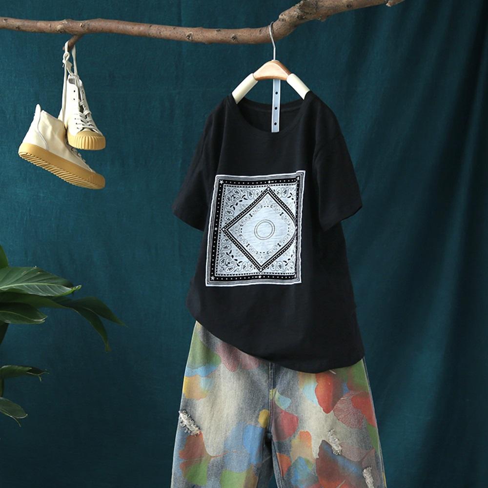 迷幻之眼/時尚設計感心機印花竹節棉上衣-設計所在
