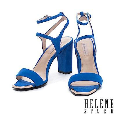 涼鞋 HELENE SPARK 夏日典雅一字羊麂皮繫帶美型高跟涼鞋-藍