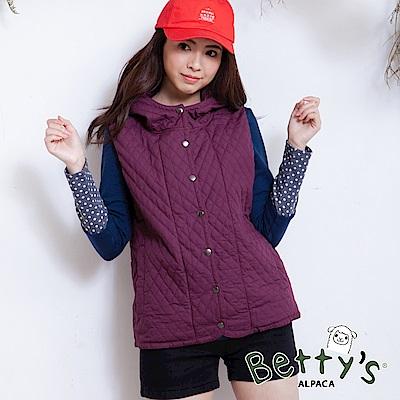 betty's貝蒂思 菱形縫線雙層連帽薄鋪棉背心(紫紅)