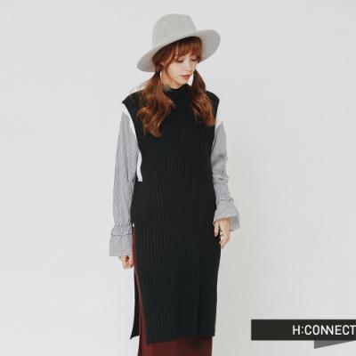 H:CONNECT 韓國品牌 女裝 -側開岔長板針織背心-黑(快)