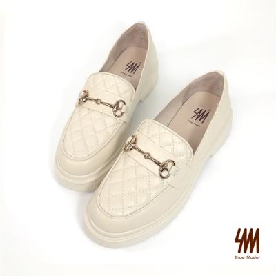 SM-格紋雙C馬蹄扣跟樂福鞋(香草白)