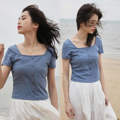 【韓國K.W.】(預購)美學好感輕著合身短版上衣-3色