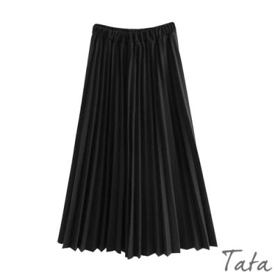 鬆緊腰毛呢百褶裙 TATA-(L~2XL)