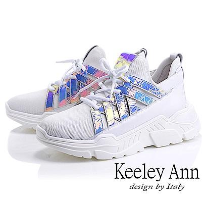 Keeley Ann輕運動潮流 透氣飛織炫彩休閒鞋(白色-Ann系列)