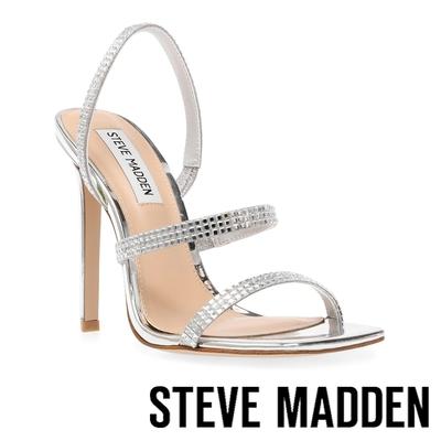 STEVE MADDEN-GRADE-R 鑽飾細帶方投高跟涼鞋-銀色