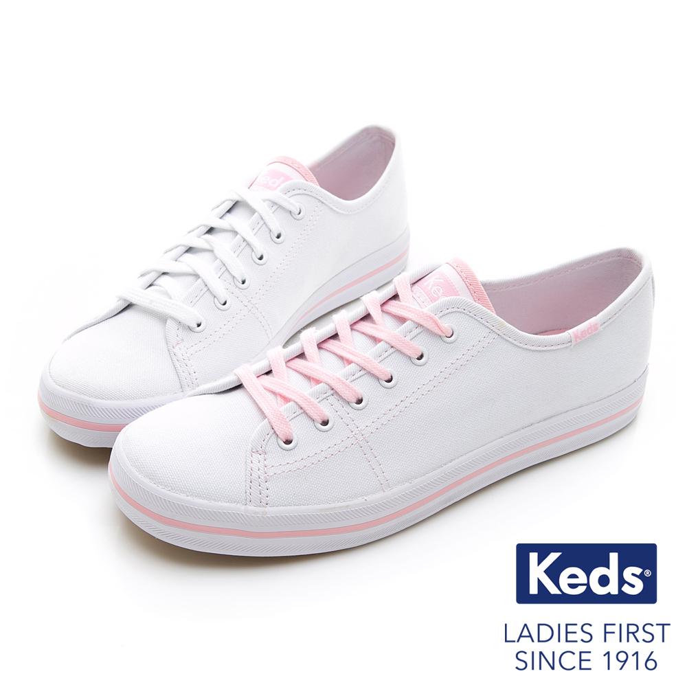 Keds KICKSTART 夢幻帆布綁帶休閒鞋-粉紅限定款