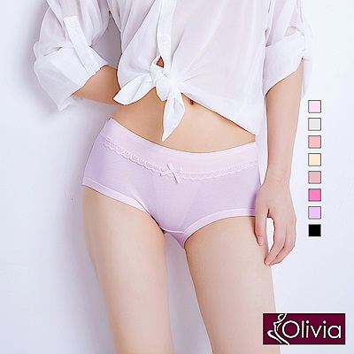 Olivia高彈蕾絲邊收復提臀棉質中腰三角內褲-紫色