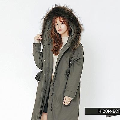 H:CONNECT 韓國品牌 女裝-鋪棉抽繩連帽外套-綠